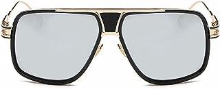 GLJJQMY Fashion Vintage Metal Lady Big Box Couple 蛤蟆 Mirror Round Face Sunglasses Women's Sunglasses (Color : Silver)