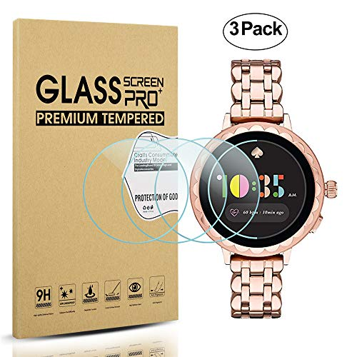 Diruite 3-Pack for Kate Spade Scallop 2 Smartwatch Screen Protector Tempered Glass [2.5D 9H Hardness] [Anti-Scratch] [Bubble-Free]