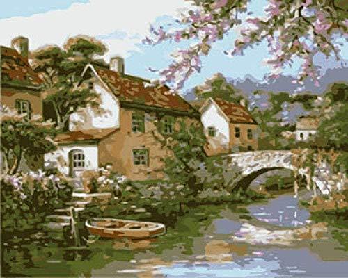 Preisvergleich Produktbild Erwachsene Digitale Malerei Bogen Brücke Herrenhaus Farbe Leinen Leinwand nach Hause Wohnzimmer Büro Bild Dekoration Geschenk -40X50 cm (rahmenlosDigitale Zeichnung