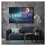 LTGBQNM Arte de la pared del paisaje abstracto Pósteres y estampados Fantasy Night Starlight de las estrellas de las estrellas del mar Pintura de la lona de la sala de estar nórdica decoración del hog