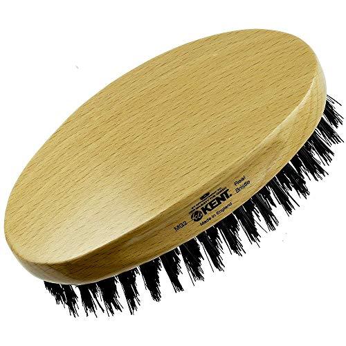 Kent MG2 Finest Men's Oval 100% Natural Beechwood Military Hair Brush with 100% Natural Black Boar Bristle for Mens Grooming, Scalp Brush, 360 Wave, Beard Straightener & Facial Brush for Beard Care