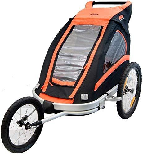 KTM Fahrrad Anhänger für 2 Kinder + Jogger + 360° Laufrad - mit Allwetter Überzug schwarz/orange