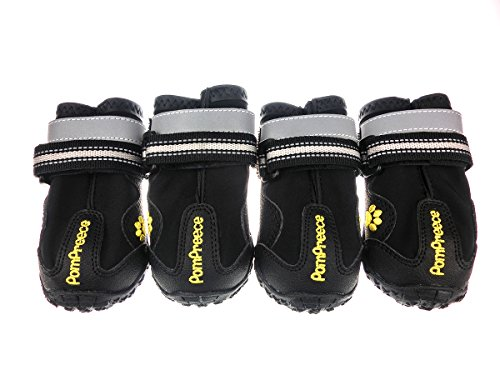 Xanday Dog Boots Waterproof Dog Shoes Paw Protectors with Reflective Straps and Wear-Resisting Soles 4Pcs(Black 03)