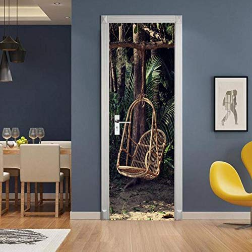 Sticker Muralcreative 3D deur sticker schommel stoel Pvc behang sticker zelfklevende DIY afneembare waterdichte wandafbeeldingen wooncultuur deur sticker 95 * 215 cm