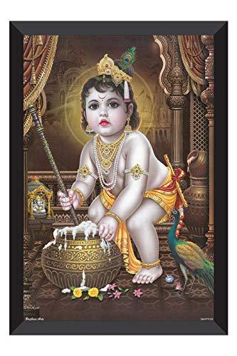 SAF 'Makhan Chor Kanha UV Textured Framed Painting 28 cms X 35.5 cms SANFK125