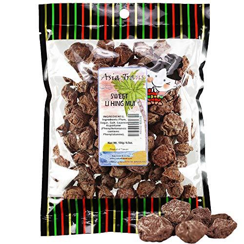 Asia Trans Sweet Seeded Li Hing Mui Crack Seed Plums | Hawaiian Favorite | Naturally Sweet Dried Asian Plum Candy (6.5 oz)