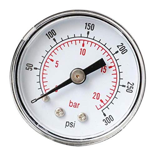 harayaa Indicador de Presión de Aire de Precisión Neumático 0-300 PSI 0-20bar Horizontal