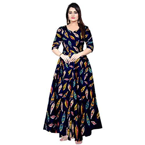 Nandini Women Rayon Casual Wear Western Maxi Dress Gown for Girl/Women/Ladies (Free Size Upto XXL)