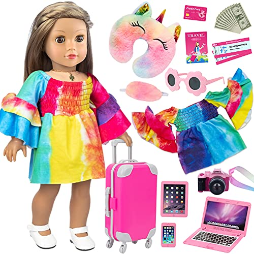 UNICORN ELEMENT American 18 Inch Girl Doll Clothes and Accessories Travel Luggage Play Set Including Toy Suitcase, Camera, Sunglasses, Phone, Computer, Passport, etc