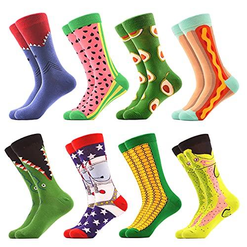 WeciBor Herren Bunt Beiläufig Gemusterte Socken Gekämmte Baumwolle Lustig Neuheit Crew Socken (8 Paar Obst1)