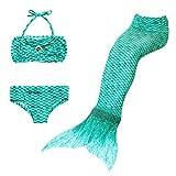 Lito Angels Traje de baño de Sirena de 3 Piezas para niñas pequeñas, Bikini y Cola de Sirena para Nadar, Talla 3 a 4 Años, Color Verde