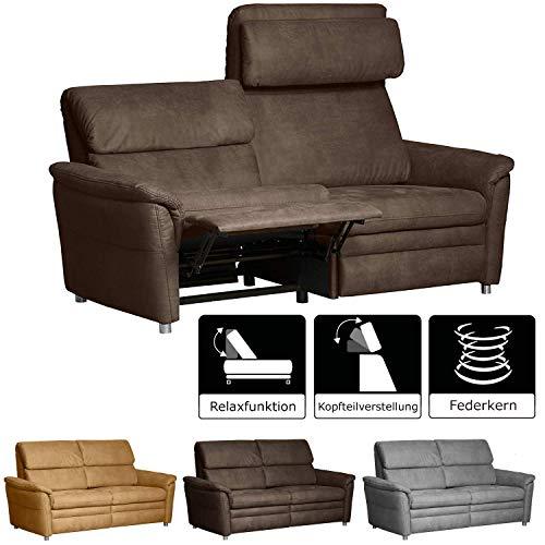 Cavadore 3-Sitzer Sofa Chalsay inkl. verstellbarem Kopfteil und Relaxfunktion / mit Federkern / Couch für Heimkino mit drei Sitzen / Größe: 179 x 94 x 92 cm (BxHxT) / Farbe: Braun (chocco)