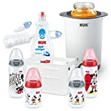 NUK Disney Mickey Mouse First Choice+ Babyflaschen Starter Set, + Thermo 3 in 1 Flaschenwärmer + Flaschenbürste mit Saugerbürste + Spülmittel für Babyflaschen