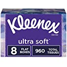Kleenex Ultra Soft Facial Tissues, 8 Rectangular Tissue Boxes, 120 Tissues per Box (960 Tissues Total)