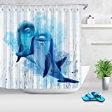 HVEST Dolphin Shower Curtain Cute Dolphin in Blue Ocean Marine Life on Rustic Vintage Wooden Board Watercolor Art Beach Bathroom Curtain Set Polyester Waterproof Bath Curtain with 12 Hooks 69X70Inch