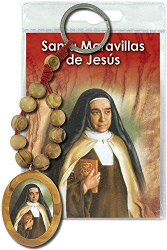 Ferrari & Arrighetti Llavero Santa Maravillas de Jesús con decenario en Madera de Olivo y oración en español