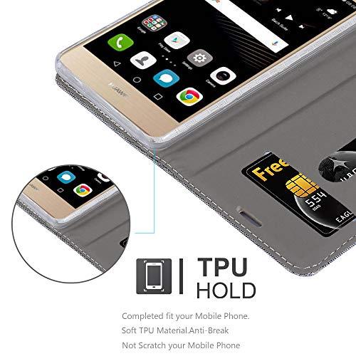 Cadorabo Hülle für Huawei P8 MAX - Hülle in HELL GRAU BRAUN – Handyhülle mit Standfunktion und Kartenfach im Stoff Design - Case Cover Schutzhülle Etui Tasche Book - 5