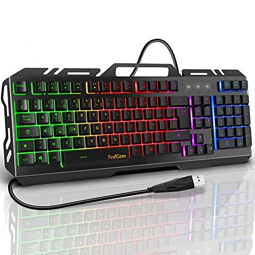 TedGem Gaming-Tastatur, kabelgebunden, ultradünn, metallisch, USB, ergonomisch, LED, Hintergrundbeleuchtung mit Multimedia-Kommunikation, 19 Tasten, Anti-Ghosting, für PS4, PC, Computer, Büro
