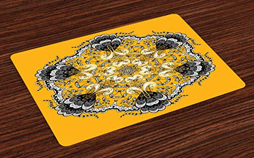 ABAKUHAUS Mandala Placemat Set van 4, Old Fashion Floral Layout, Wasbare Stoffen Placemat voor Eettafel, oranje Grijs