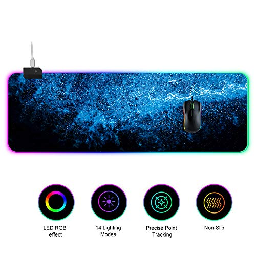 Extended Gaming Mouse Pad,Extra Large Led Luminous Mouse Pad,14 RGB Lighting Mode,Waterproof Not-Slip Rubber Mice Pads for Laptop F 90x30cm(35x12inch)