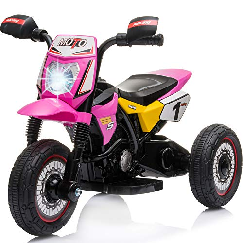 Little Brown Box Kids Dirt Bike Ride On Motorcyle Vehicle Toy - 6V Electric Three Wheels Quad - Battery Powered, Lights, Sound Kids Ride On Motorcycle for Toddler, Girls & Boys 3 Year Old Up (Pink)