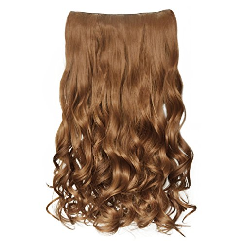 """REECHO 20"""" 1-pack 3/4 Full Head Curly Wave Clips in on Synthetic Hair Extensions Hair pieces for Women 5 Clips 4.6 Oz Per Piece - Light Golden Brown"""