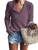 WNEEDU Women's Waffle Knit Tunic Tops Loose Long Sleeve Button Up V Neck Henley Shirts (L, Mauve2)