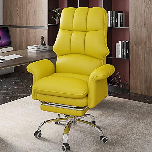 Casa Sedia per computer, poltrona reclinabile ergonomica, ufficio studio confortevole sedentario reclinabile, sedia da competizione, sedia girevole ascensore posteriore-giallo