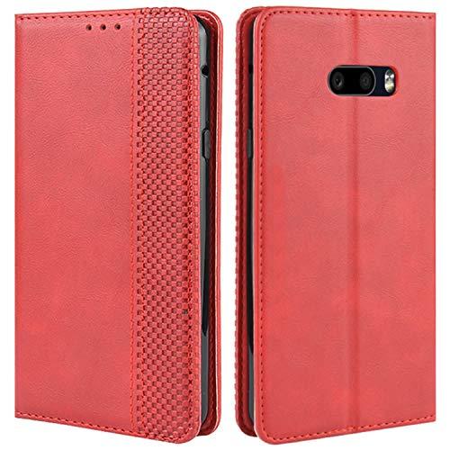 HualuBro Handyhülle für LG G8X ThinQ Hülle, LG V50S ThinQ Hülle, Retro Leder Stoßfest Klapphülle Schutzhülle Handytasche LederHülle Flip Hülle Cover für LG G8X ThinQ Tasche, Rot
