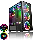 CiT Raider - Estuche para Juegos de PC, ATX de Media Torre, 8 x Halo Dual – RGB, PCB Hub con conectividad Aura, Controlador RF, MB Sync, Vidrio Templado, para una Gran Experiencia de Juego | Negro