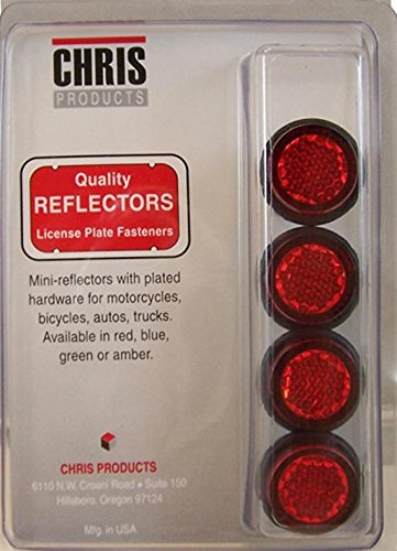 Chris Products CH4R Red Motorcycle Mini License Plate Reflector, 4 Pack
