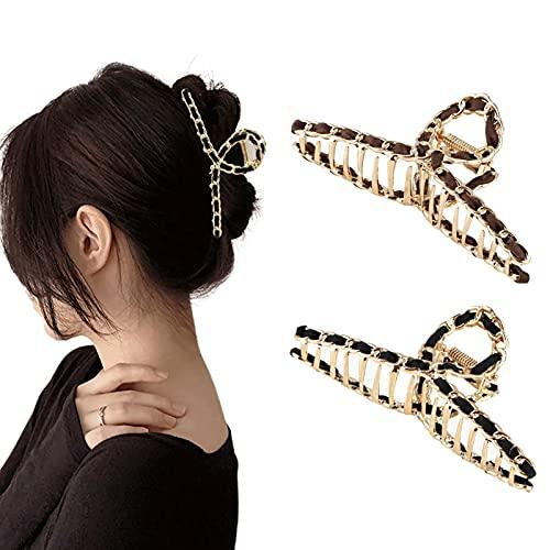 haarspange metall haarspangen damen schwarz - haarklammer groß dickes haar haargreifer Rutschfeste Haarnadel haaraccessoires haar spange für frauen(2 Stücke)