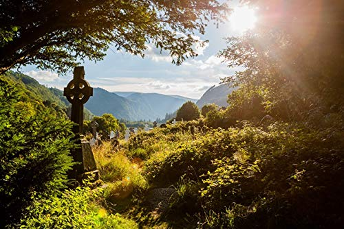 Ireland - Old Celtic Cross in Glendalough, Wicklow Mountain - Photography A-92043 (12x18 Art Print, Wall Decor Travel Poster)