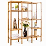 COSTWAY Multifunctional Bamboo Shelf Bathroom Rack Storage Organizer Rack Plant Display Stand W/Several Cell Closet Storage Cabinet (5-Tier)