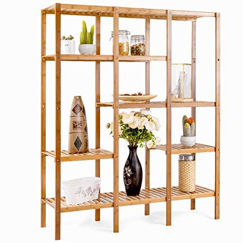 COSTWAY Bücherregal aus Bambus, Pflanzenregal 5-stufig, Lagerregal für Badezimmer, Wohnzimmer, Küche