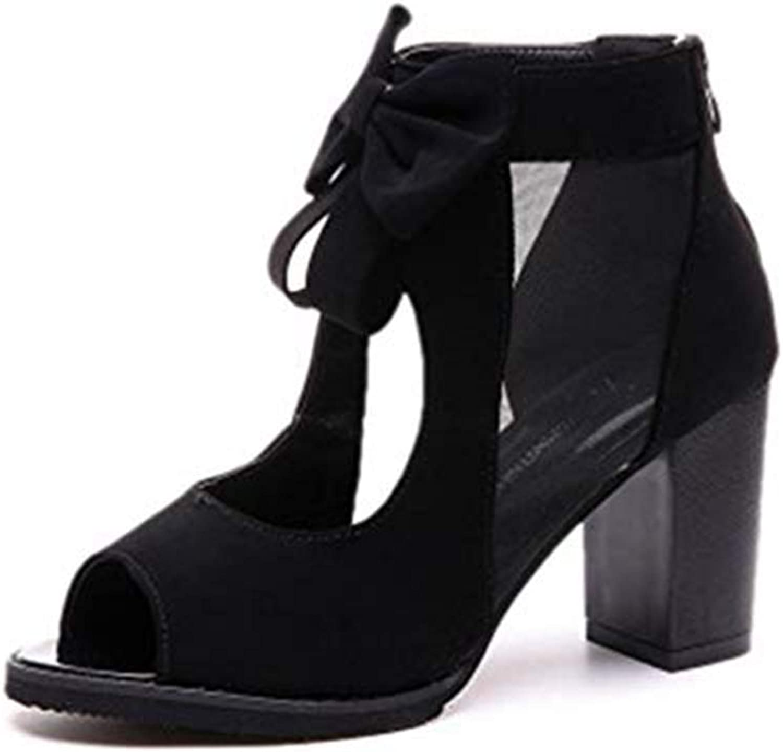 T-JULY Women's Fashion Bowknot Mesh Chunky Heel Platform Slides Sandals Peep Toe Anti-Slip Zipper Wedge Booties
