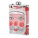 Navidad roja creativa Santa Claus Tree Hip Flask Outdoor Cup Flagon portátil para viajes Camping Mug Wine Flask 8OZ