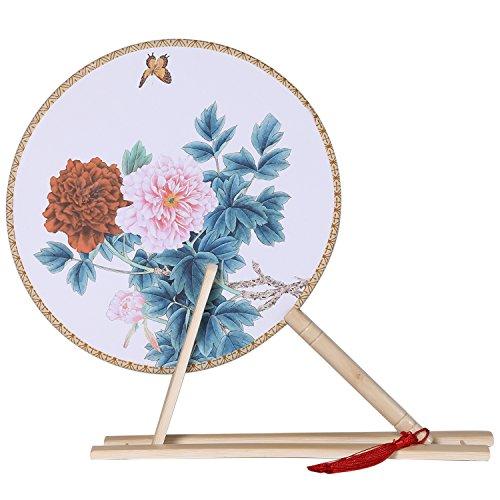 ArtiDeco Bloemen Ronde Hand Fans voor Vrouwen met Fan Stand Vintage Chinese Bamboe Handheld Ronde Ventilator Oude Chinese Stijl