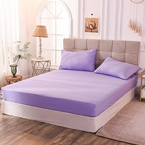 CYYyang Protector de colchón de bambú Funda de colchón y Ajustable Sábana de Color Puro a Prueba de Polvo-Violeta_140x200x30cm