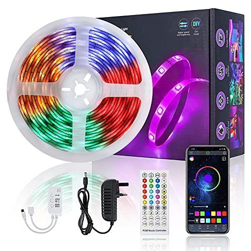 LED Strip 5M, FAUETI LED Streifen Wasserdicht Fernbedienung und App Bluetooth Kontroller, Farbwechsel RGB LED Band Sync zur Musik, LED Lichterkette für Bars, Familien, Party [Energieklasse A++]