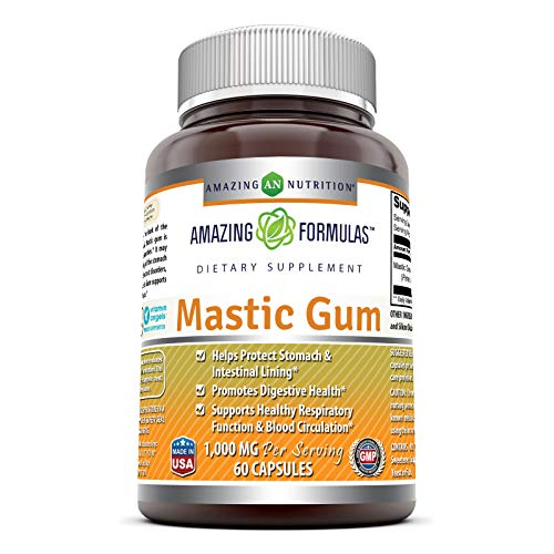 Amazing Formulas Mastic Gum 1000 mg Per Serving 60 Capsules -(Non GMO,Gluten Free)- Supports Gastrointestinal Health, Digestive Function, Immune Function and Oral Health