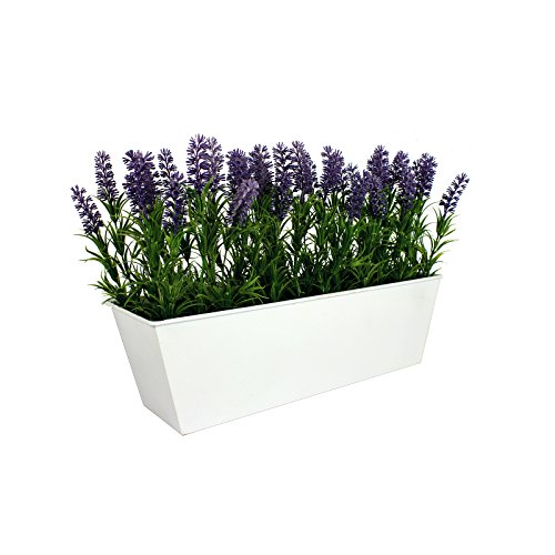 GreenBrokers kweekset kunstmatige lavendel Window Box, wit tin door container pot - 45 cm (lengte)