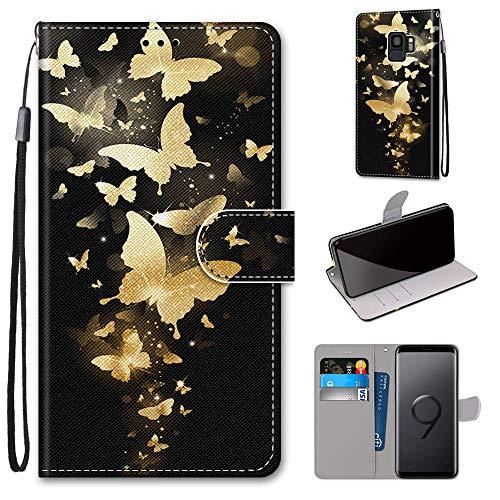 Miagon Flip PU Leder Schutzhülle für Samsung Galaxy S9,Bunt Muster Hülle Brieftasche Case Cover Ständer mit Kartenfächer Trageschlaufe,Gold Schmetterling
