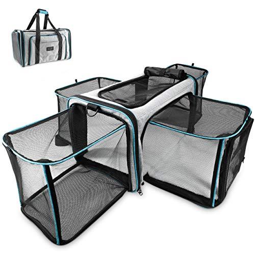 Zoolony - Transporttasche für Hunde & Katzen |50x30x30| inkl. Tragegurt, Anschnallklipp & Trolleyhalterung - Pflegeleichte & Faltbare Transportbox für jeden Tag - ideal als Reisebox & Autobox