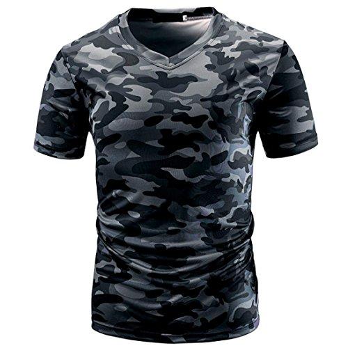 RETUROM -Camisetas Camiseta para Hombre, Manga Corta con Cuello en V de Camuflaje Casual Estampado de Camuflaje para Hombre (2XL, Gris)