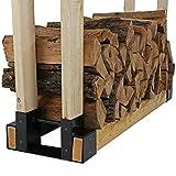 Kit de support de support pour bûches de bois de chauffage extérieur et intérieur - Support de rangement en bois de cheminée -Accessoire de support de rangement en bois pour foyer en acier enduit 2PCS