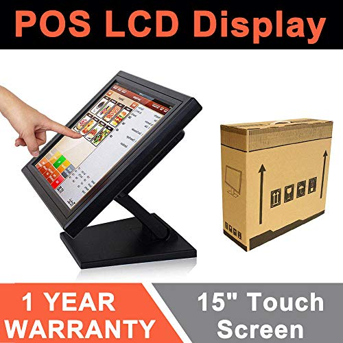 LED Touch Screen Cash Register,15' POS TFT VGA Monitor POS System Cash Register Retail Store Restaurant Bar USA Stock (Black Border)