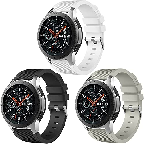 Easuny Compatible for Samsung Galaxy Watch 3 45mm Band Galaxy Watch 46mm Gear S3 Frontier, 22mm Smart Watch Bands Silicone Quick Release Strap for Men, 3 Pack of Black White Gray