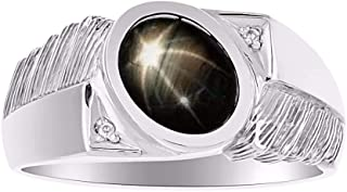 RYLOS 14K White Gold Oval Cabochone Color Stone Gemstone & Natural Diamond Ring Set