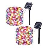 Joomer 2 Paquetes de Luces Solares, 10m 100LED 8 Modos de Luces Exteriores, Luces Solares Impermeables para Patio, Jardín, Patio, Fiesta, Boda (Multicolor)